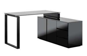 biurko z czarnym hartowanym szklem