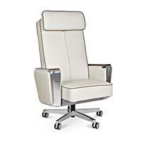 Fotel gabinetowy REGENT biały skóra naturalna
