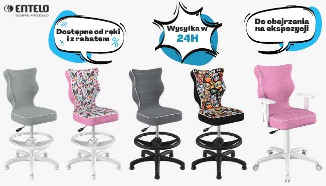Krzesła młodzieżowe Entelo dostępne od ręki