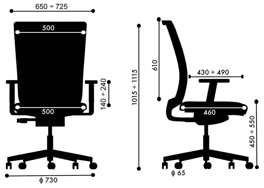 Fotel Bakun SIMPLE - wymiary