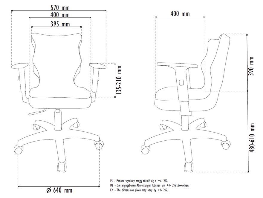Fotel młodzieżowy Entelo DUO rozmiar 5 - wymiary