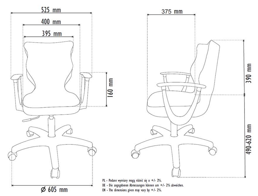 Fotel młodzieżowy Entelo NORM rozmiar 5 - wymiary