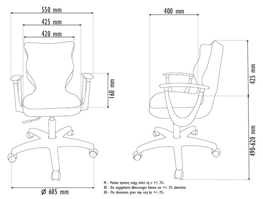 Fotel młodzieżowy Entelo NORM rozmiar 6 - wymiary