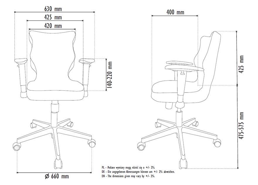 Krzesło biurowe Entelo PERTO Poler rozmiar 6 - wymiary