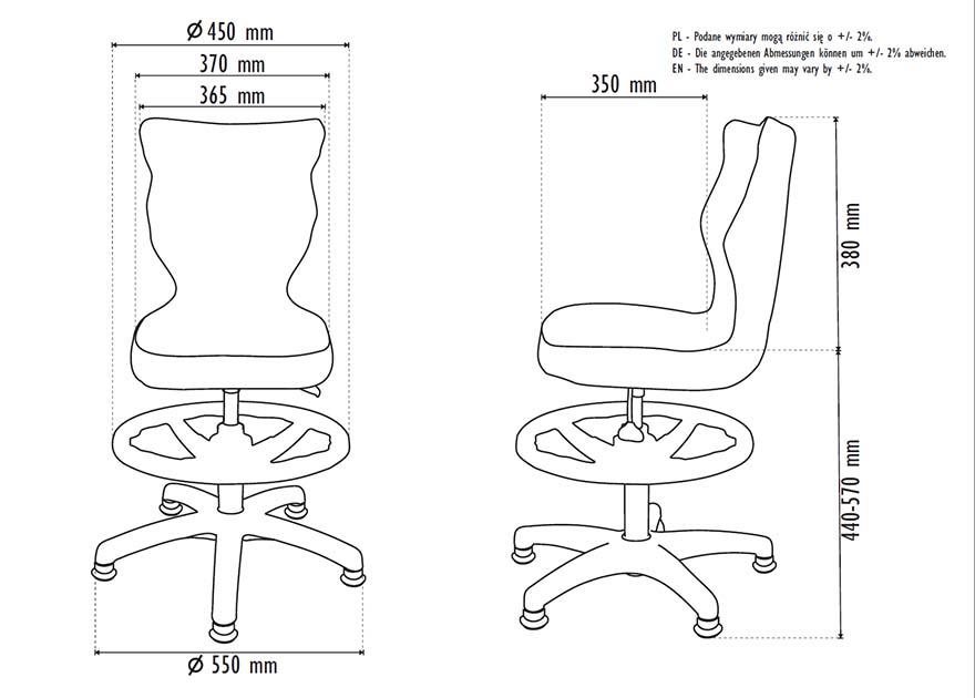 Fotel młodzieżowy Entelo PETIT WK+P rozmiar 4 - wymiary