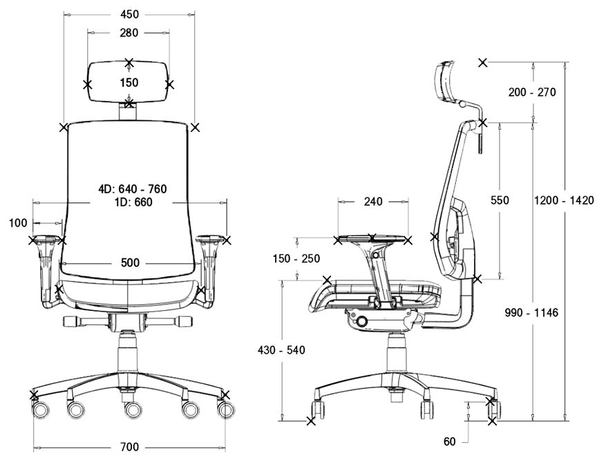 Fotel BGroup SKILL - wymiary