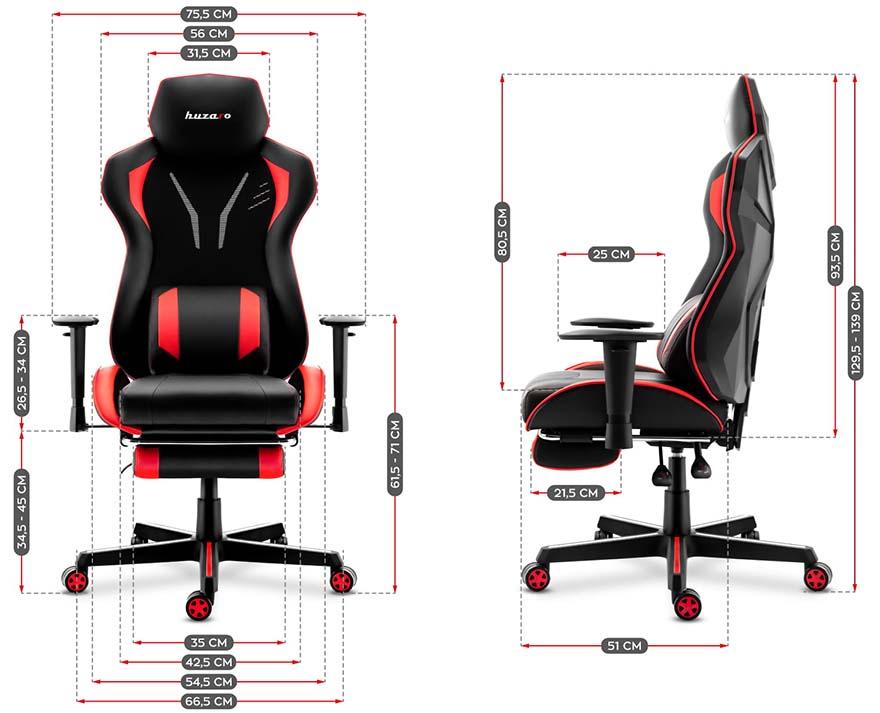 Fotel gamingowy Huzaro Combat 6.0 red - wymiary