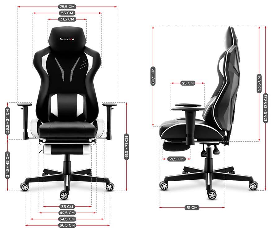 Fotel gamingowy Huzaro Combat 6.0 white - wymiary