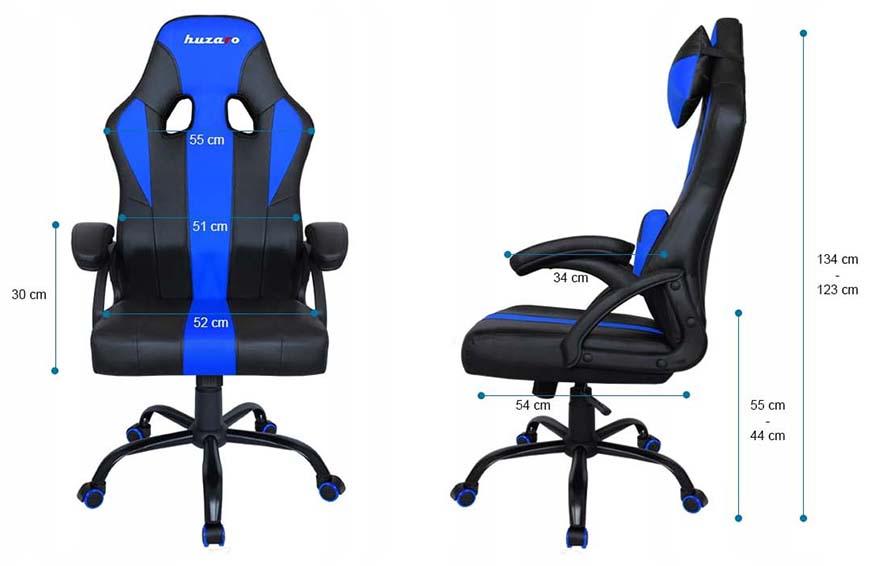 Fotel gamingowy Huzaro Force 3.0 blue - wymiary