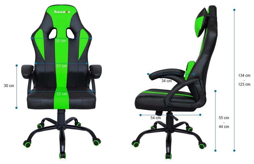 Fotel gamingowy Huzaro Force 3.0 green - wymiary