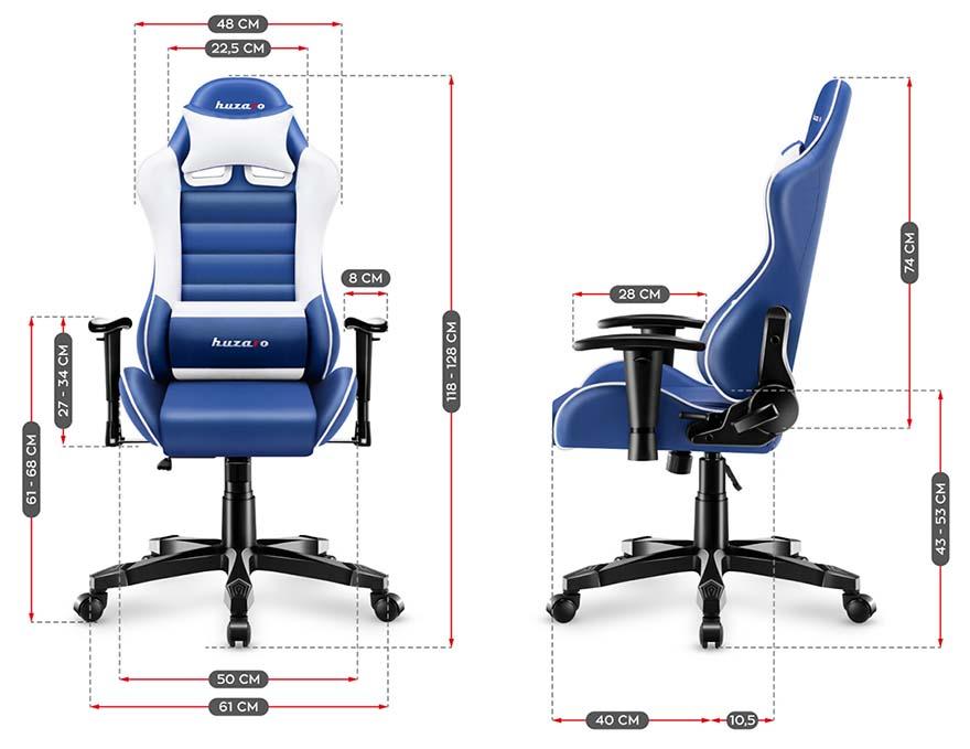 Fotel gamingowy dla dziecka Huzaro Ranger 6.0 blue - wymiary