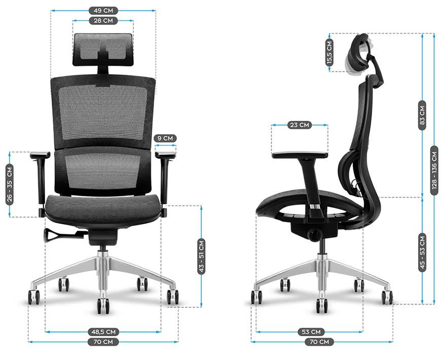 Fotel biurowy MarkAdler Expert 6.0 - wymiary
